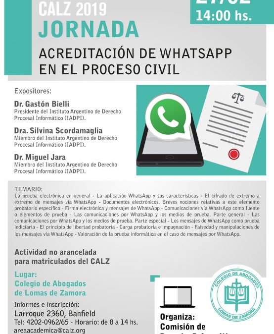 Jornada Acreditación de Whatsapp en el Proceso Civil